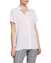 Neiman Marcus Crepe High Low Blouse - White