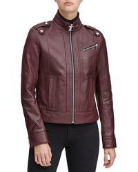 Marc New York Rego Leather Stand Collar Moto Jacket - Black