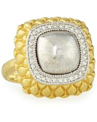 Jude Frances - Pave Diamond Quilted Two-tone Cushion Ring - Lyst