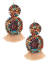 Panacea - Mixed Stone Circle Drop Earrings - Lyst