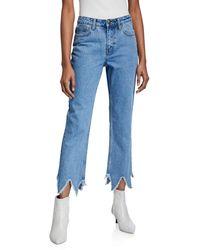 EVIDNT Essen Relaxed Jeans W/ Zigzag Hem - Blue