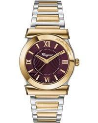 Ferragamo - 22mm Vega Two-tone Bracelet Watch W/ Burgundy Dial - Lyst