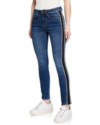 Karen Millen - Side-striped Mid-rise Jeans - Lyst