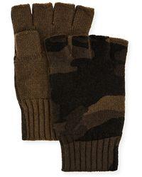 Neiman Marcus Camo-print Fingerless Gloves - Green