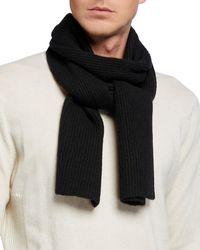 Portolano Men's Cashmere Double Racking Stitch Scarf - Black