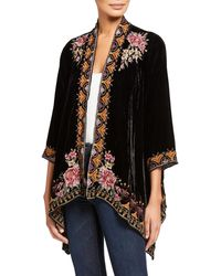 Johnny Was Joanna Embroidered Velvet Drape Cardigan - Black