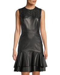 Jason Wu - Sleeveless Leather Ruffle-hem Dress - Lyst