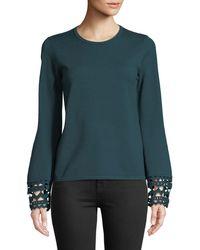 Catherine Malandrino - Crochet-cuff Crewneck Sweater - Lyst