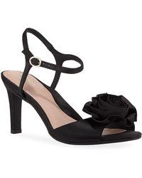 Taryn Rose - Jacklyn Satin Rose Mid-heel Sandals - Lyst