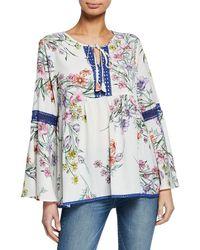 Neiman Marcus Floral-print Blouse W/ Crotchet Trim - Blue