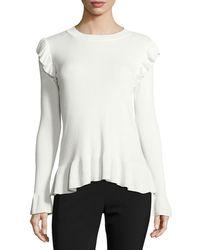 Tahari - Ruffled Crewneck Sweater - Lyst
