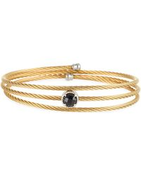 Alor - Yellow Cable Triple-wrap Bangle Bracelet With Onyx - Lyst