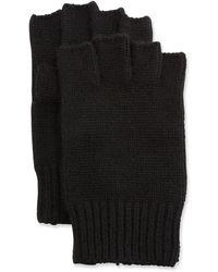 Neiman Marcus Men's Cashmere Fingerless Gloves - Black
