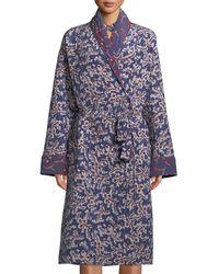 Figue Karina Spanish-ivy Reversible Silk Robe Coat - Blue
