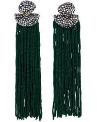 Panacea Luxe-top Fringe Earrings Green