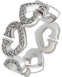 Cartier - 18k Pave Diamond C-heart Ring - Lyst