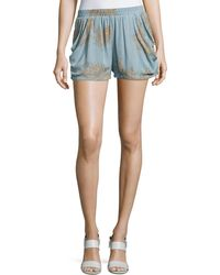 Bishop + Young - Luna Print Crepe Shorts - Lyst