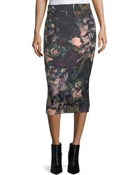 Tahari - Scuba-knit Watercolor Midi Skirt - Lyst