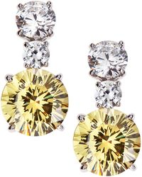 Fantasia by Deserio - Round Two-tone Cz Drop Earrings - Lyst