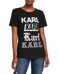 Karl Lagerfeld Newspaper Karl Tee - Black