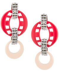 DANNIJO Armie Hoop & Link Drop Earrings Pink