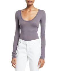 Free People Easy Peasy Long-sleeve Bodysuit - Gray