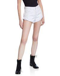 One Teaspoon Bandits Distressed Rigid Double-cuff Denim Shorts - White