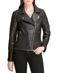 DKNY - Quilted-sleeve Leather Moto Jacket - Lyst