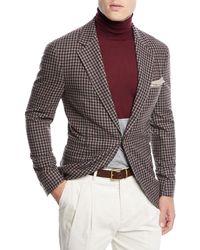 Brunello Cucinelli Men's Check Wool Three-button Sport Coat Jacket - Brown