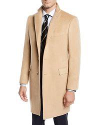 Neiman Marcus Men's Cashmere Car Coat Camel Beige - Natural