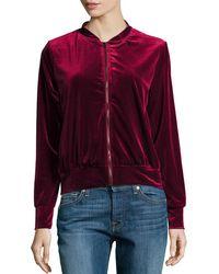 Hazel - Velvet Bomber Jacket W/ Embroidered Back - Lyst