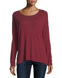 Neiman Marcus - Cotton/cashmere Long-sleeve Crewneck T-shirt - Lyst