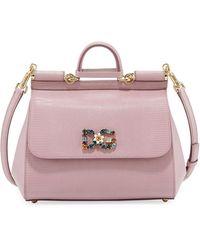 Dolce   Gabbana - Miss Sicily Medium Stamped Leather Satchel Bag - Lyst 258d3d36f6