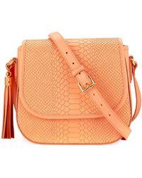 Gigi New York Kelly Snake-embossed Saddle Bag - Orange