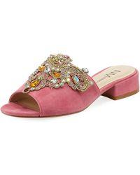 Neiman Marcus - Delphinea Embellished Suede Slide Sandal - Lyst