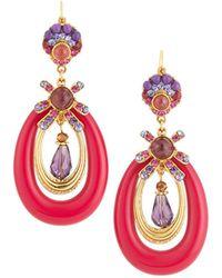 Jose & Maria Barrera Lucite Oval Drop Earrings - Pink