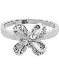 Piero Milano - 18k White Gold Diamond Bow Ring Size 6.75 - Lyst
