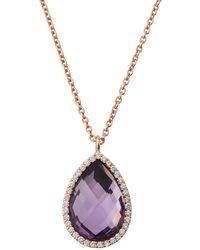 Roberto Coin - 18k Amethyst & Diamond Teardrop Pendant Necklace - Lyst