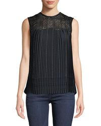 Yigal Azrouël - Pleated Lace-yoke Cocktail Top - Lyst