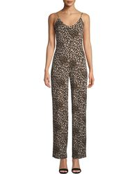 Bebe - Leopard-print Crepe Straight-leg Jumpsuit - Lyst