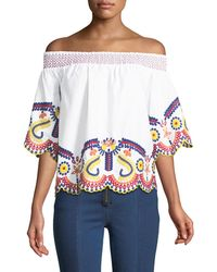 Romeo and Juliet Couture - Off-the-shoulder Embroidered Blouse - Lyst