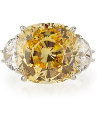 Fantasia by Deserio | Cushion-cut Canary Cz Cocktail Ring | Lyst