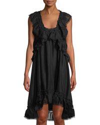 Leon Max - Scoop-neck Sleeveless Linen-silk Dress W/ Ruffle Detail - Lyst