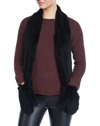 Love Token - Rabbit Fur Scarf With Attached Gloves - Lyst