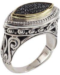 Konstantino - Asteri Horizontal Ring W/ Pave Black Diamond Marquise Center - Lyst