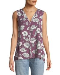 Bobeau - Lily Sleeveless Floral-crepe Blouse - Lyst