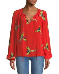 Diane von Furstenberg Silk Bird-print Long-sleeve Blouse - Green