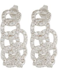 Roberto Coin - 18k White Gold Diamond Cable Earrings - Lyst