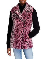 Adrienne Landau Faux Fur Leopard Vest - Red