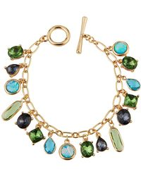 Lydell NYC - Mixed-stone Charm Bracelet Green - Lyst